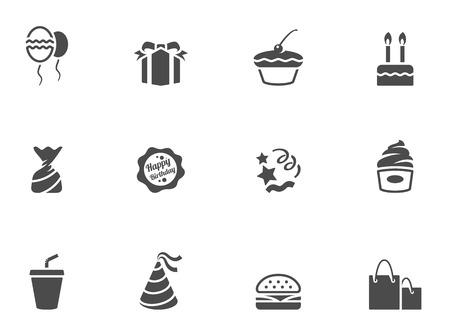 Birthday icons in black & white. EPS 10.  Illustration
