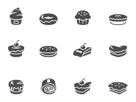 Cakes icons in black & white. EPS 10.