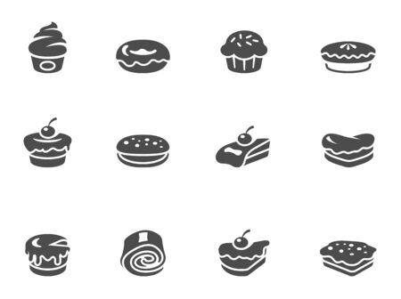 Kuchen-Icons in schwarz-weiß. EPS 10.