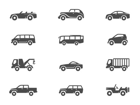 Car icons in black & white. EPS 10.