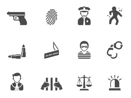 Crime icons in black & white. EPS 10.  Vettoriali