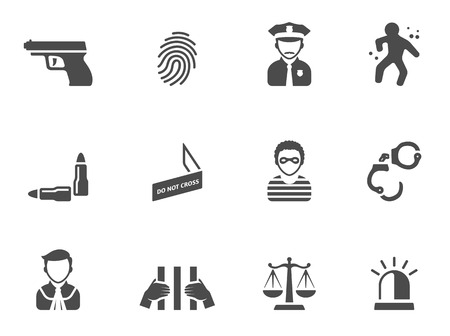 Crime icons in black & white. EPS 10.  Stock Illustratie