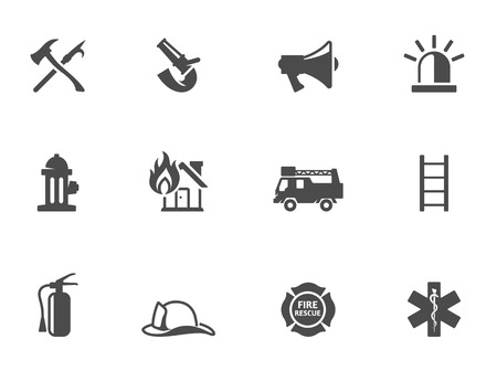 Fire fighter icons in black & white. EPS 10.  Ilustracja