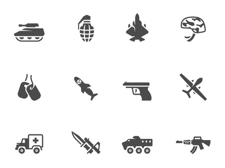 Military icons in black & white. EPS 10.  Vector