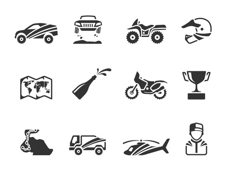 trail bike: Rally related icons in single color. EPS 10.