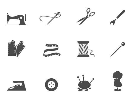 Sewing icons in black & white. EPS 10.  Vector