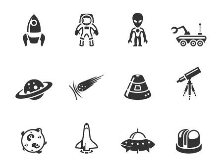 Iconos relacionados con el espacio de un solo color. EPS 10. Ilustración de vector