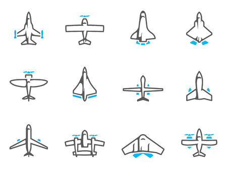 supersonic: Airplane silhouette icons in duo tone colors. EPS 10.