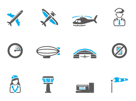 Aviation icons in duo tone colors. EPS 10.  Font used: Collaborate Bold Vector