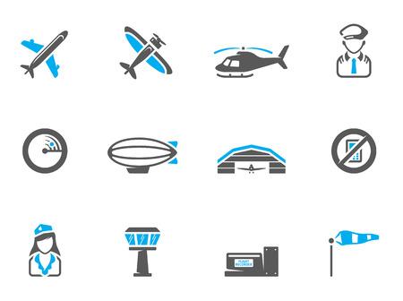 piloto de avion: Iconos de la aviaci�n en colores de tono d�o. EPS 10. Fuente utilizada: Colaborar en negrilla