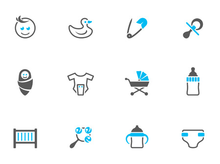 Babies icons in duo tone colors. EPS 10.  일러스트