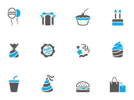 Birthday icons in duo tone colors. EPS 10.  Vector