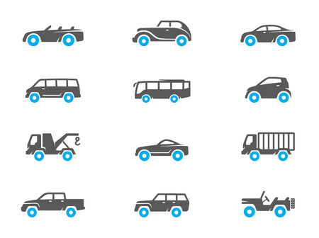 duo tone: Car icons in duo tone colors. EPS 10.