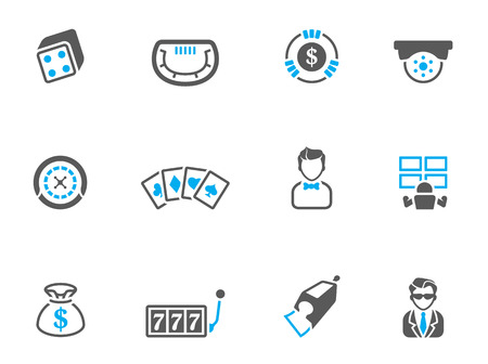 Casino icons in duo tone colors. EPS 10.  Vector