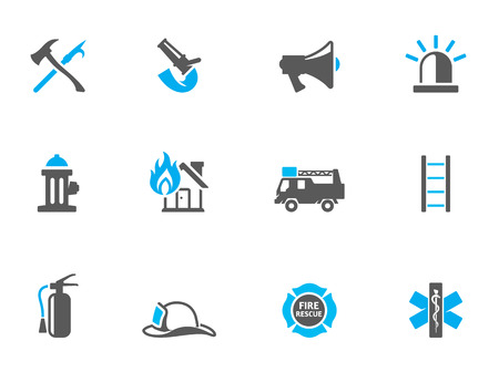 Fire fighter icons in duo tone colors. EPS 10.  Vettoriali