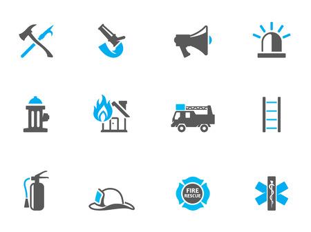 icônes du pompier en duo couleurs sonores. EPS 10.