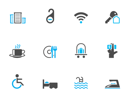 Hotel icons in duo tone colors. EPS 10.