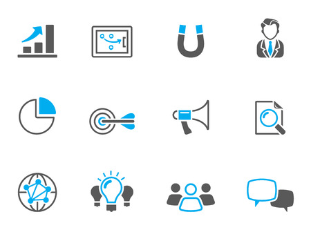 negotiate: Marketing icons in duo tone colors. EPS 10.
