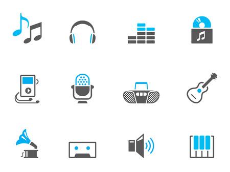 pictogrammes musique: Les ic�nes de musique en duo tonalit� des couleurs. EPS 10.