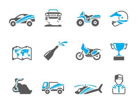 trail bike: Rally related icons in duo tone colors. EPS 10.