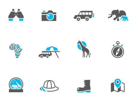 Safari icons in duo tone colors. EPS 10. Stock Vector - 23775242