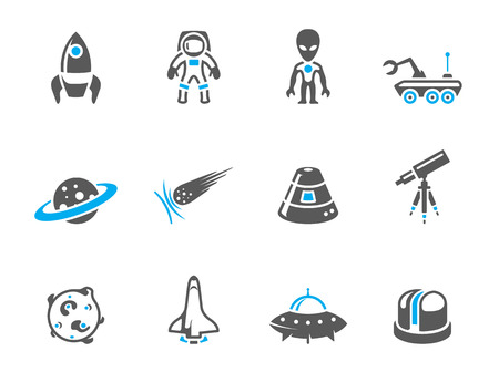 astronaut: Space related icons in duo tone colors. EPS 10.  Illustration