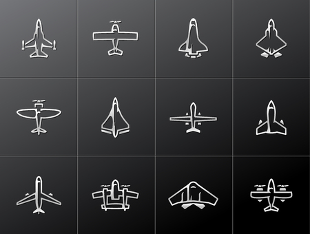 stealth: Airplane silhouette icons in metallic style. EPS 10.  Illustration