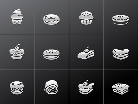 swiss roll: Cakes icons in metallic style. EPS 10.