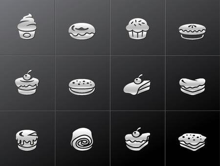 Kuchen Symbole in metallisch-Stil. EPS-10.