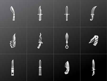 Knife icons in metallic style. EPS 10.  Vector