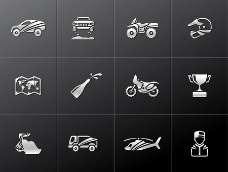 Rally related icons in metallic style. EPS 10.   Vector