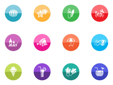 Beach icons in color circles  Stock Vector - 28332816