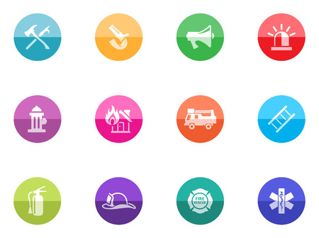Fire fighter icons in color circles  Vector