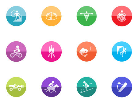 Outdoor icons in color circles  Vector