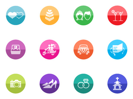 Wedding icons in color circles  Vector