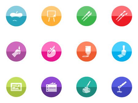 Artist icons in color circles  Vector