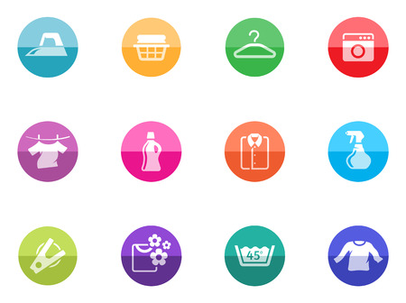 washing powder: Laundry icons in color circles   Illustration