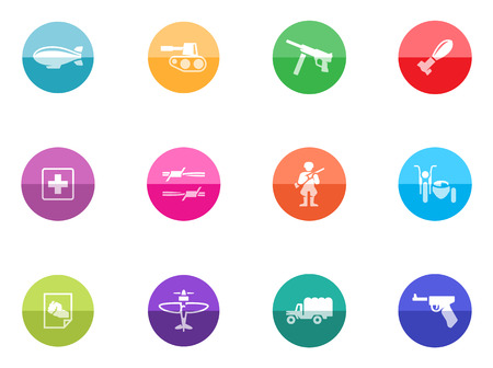 World War icons in color circles Stock Vector - 28340435