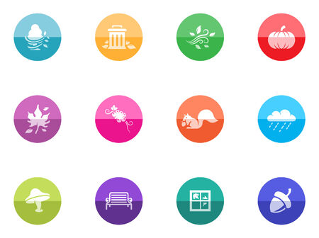Autumn icons in color circles  Vector