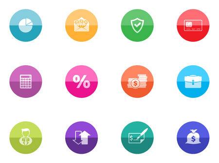 Finance icon series in color circles  Vector