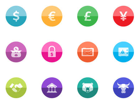 Finance icon series in color circles   Font used  Amaranth Vector