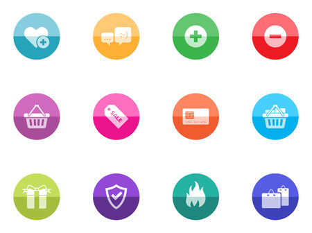 Ecommerce icon series in color circles   Font source   DejaVu Sans, Bitwise Vector