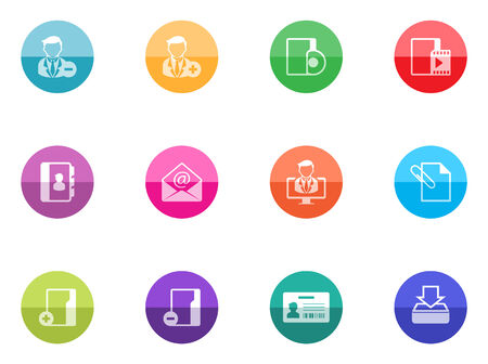 Group collaboration icon series in color circles  Vector