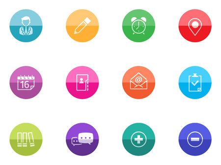 straight pin: Group collaboration icon series in color circles  Illustration