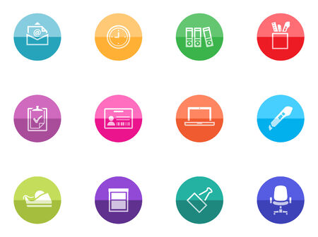 icone office: ic�ne de bureau s�rie de cercles de couleurs