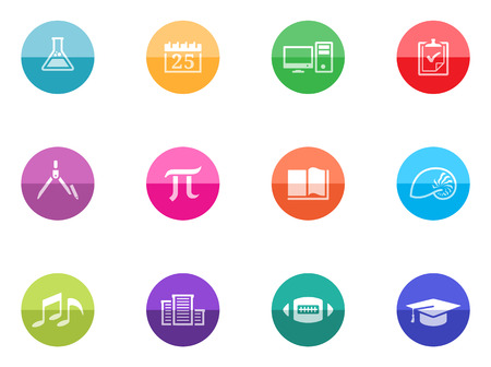 More school icon series in color circles  Vector