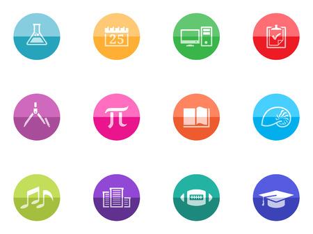More school icon series in color circles  Vector