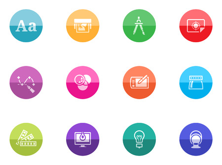 Printing   graphic design icon series in color circles  Vector