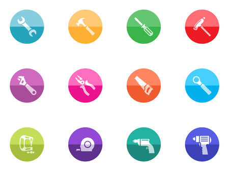 Bicycle tools icon series in color circles   Vector