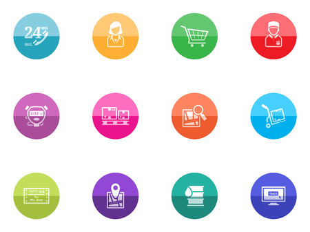 Logistic icon series in color circles  Vector